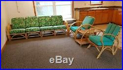 7 pc Antique VTG Ficks Reed rattan bamboo sectional porch sofa Chairs table set