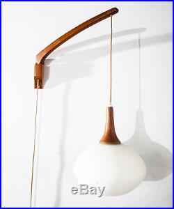 Mid Century Modern Hanging Lamp Wall Sconce Frosted Glass Light Vintage