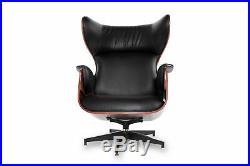 Mid Century Modern Wingback Plywood Rosewood Vintage Lounge Chair Ottoman Set