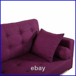 Modern Couch Tufted Linen Cushions & 2 Accent Pillows, Purple Vintage Sofa