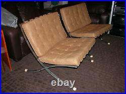 PAIR Vintage BARCELONA Chairs LEATHER 1960s Mid Century Modern BLOOMINGDALE'S