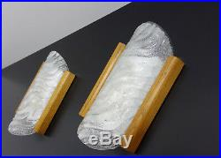 Pair Of Mid Century Vintage Wall Lamps Sconces Ice Glass Oak Wood Fischer 1960s