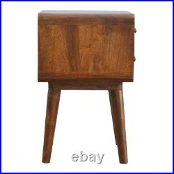 Pair of Mid Century Deco Curved Edge Bedside Side Tables Dark Wood FREE DELIVERY