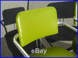 Pair of Vintage Mid Century Modern Lime Green Chrome Accent Chairs