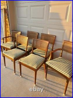 Set of 6 Vintage Mid Century Modern Walnut Curved Cane Back Dining Chairs