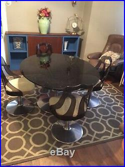 TULIP TABLE With4 CHAIRS MID-CENTURY MODERN Vintage Amber Glass Cromecraft