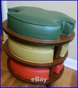 Three Stacking Vintage Foot Stools Rests Ottomans Round 1960s-1970s MCM