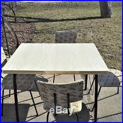 Vintage 1950s Mid-Century Atomic Formica Chrome Kitchen Table & 4 Chairs