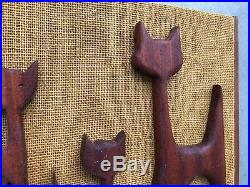 Vintage 1960's 1970's Mid Century Modernist Sculpted Wooden Cats Wall Hanging