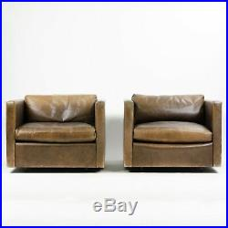 Vintage 1978 Knoll Charles Pfister Brown Leather Armchairs (See Matching Sofa)
