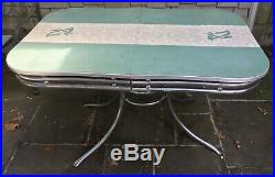 Vintage 50's Chrome 2 Tube Kitchen Table Turquoise Formica Mid Century Modern