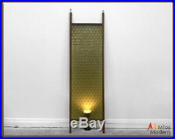 Vintage 60s Mid Century Modern Green Tension Pole Acrylic Panel Room Divider