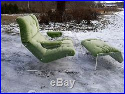 Vintage Kagan style lucite lounge chair and ottoman, very good original