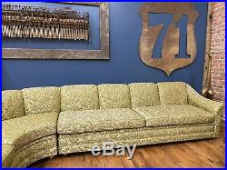 Vintage Mid Century Modern Gold Curved Sectional Couch Sofa