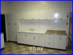 Vintage Mid Century Modern Lyon Metal Kitchen Cabinets with Sink (Set Lot of 28)