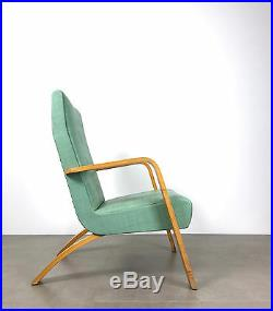 Vintage Mid Century Modern Thonet Bentwood Tall Back Lounge Chair Turquoise Aqua