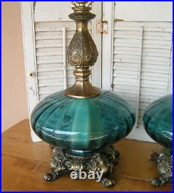Vintage Pair Mid Century Modern Blue Ribbed Glass Table Lamps Hollywood Regency