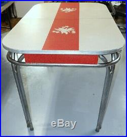 Vintage Retro 1950's Red and White Chrome Formica Table No Middle Leaf