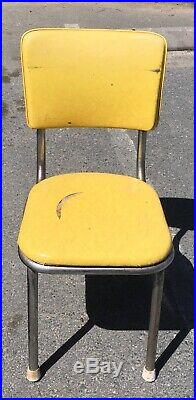 Vintage Retro Mid Century Table Chairs Diner Chrome 50s Yellow Dining