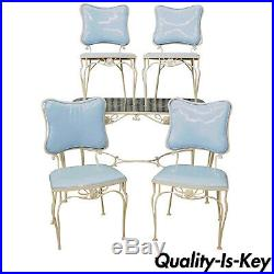 Vtg 5 Pc Blue Wrought Iron Patio Dining Set Table 4 Chairs Mid Century Woodard